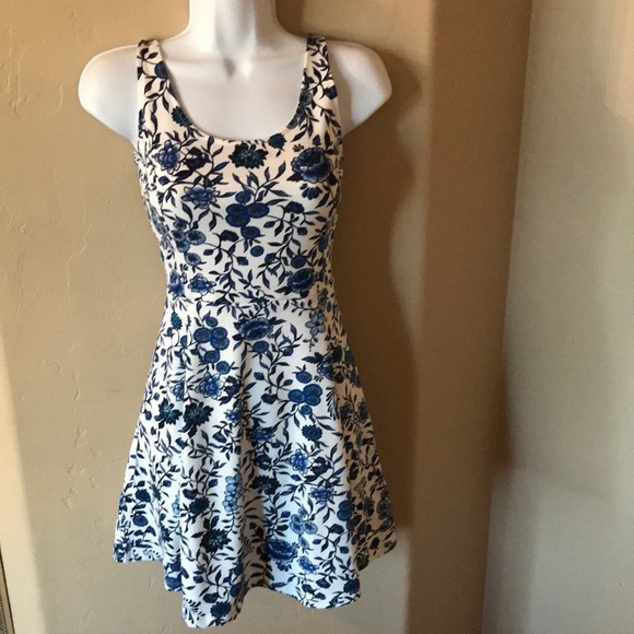 Divided Dresses & Skirts - h&M blue flower skater dress